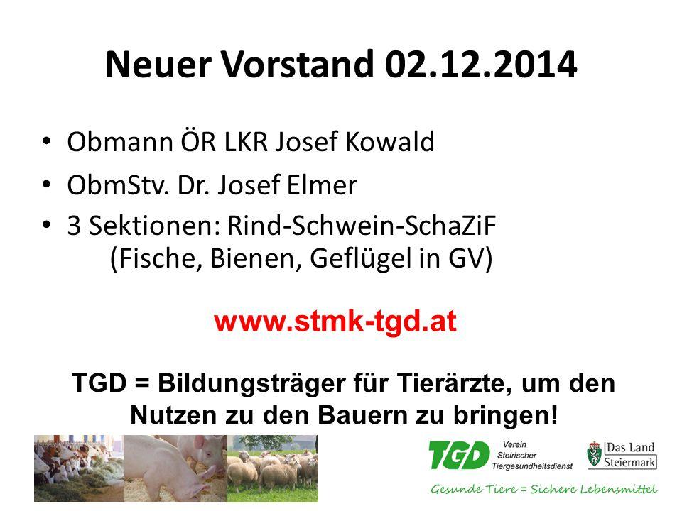 Neuer Vorstand 02.12.2014 Obmann ÖR LKR Josef Kowald ObmStv.