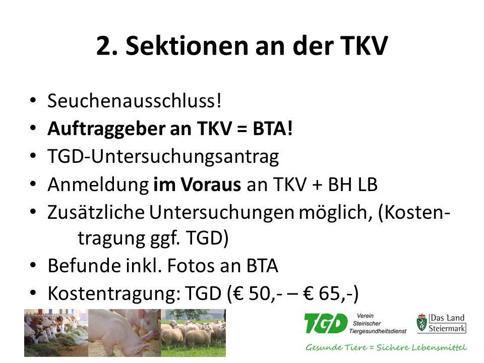 2. Sektionen an der TKV Seuchenausschluss! Auftraggeber an TKV = BTA! TGD-Untersuchungsantrag Anmeldung im Voraus an TKV + BH LB Zusätzliche Untersuch