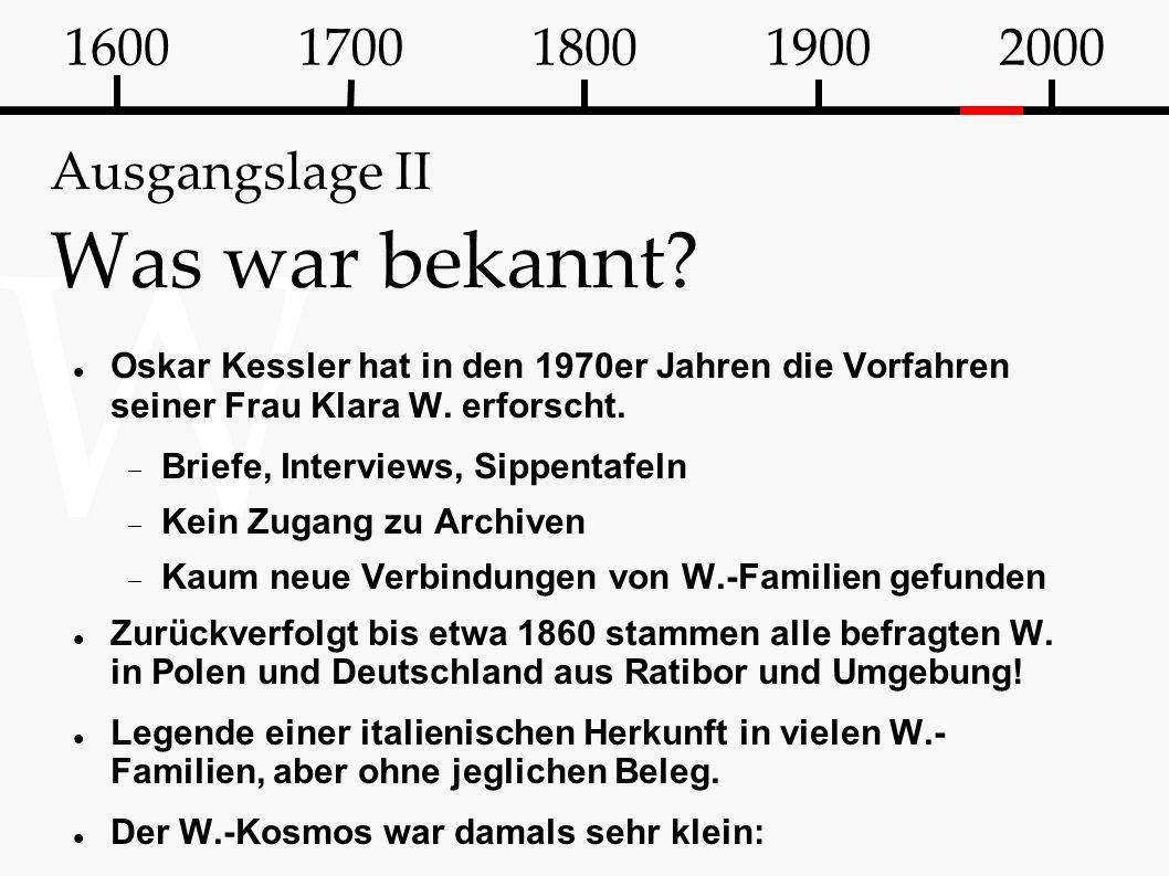 W Ausgangslage II Was war bekannt? Oskar Kessler hat in den 1970er Jahren die Vorfahren seiner Frau Klara W. erforscht.  Briefe, Interviews, Sippenta