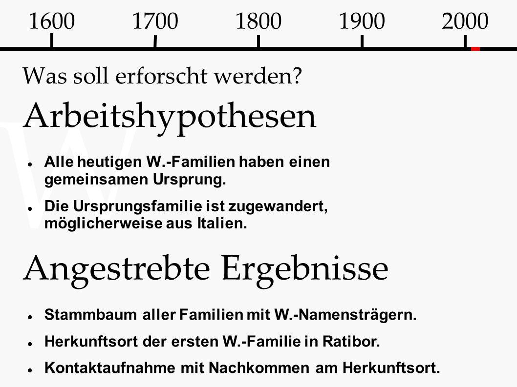 W Was soll erforscht werden? Arbeitshypothesen Alle heutigen W.-Familien haben einen gemeinsamen Ursprung. Die Ursprungsfamilie ist zugewandert, mögli