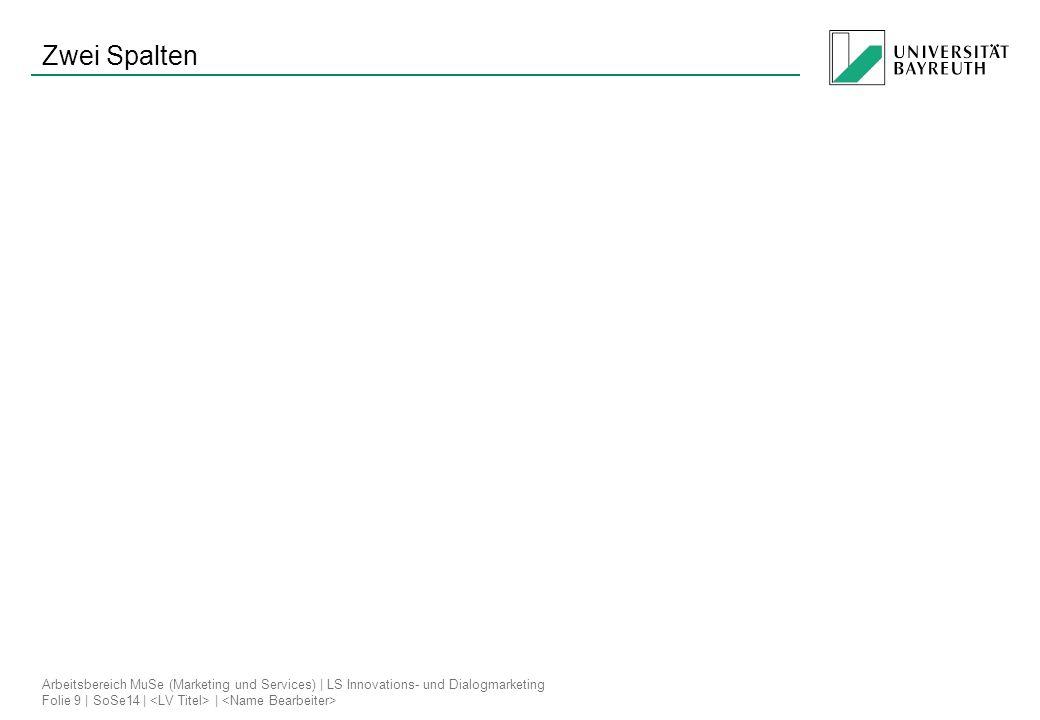Arbeitsbereich MuSe (Marketing und Services) | LS Innovations- und Dialogmarketing Folie 9 | SoSe14 | | Zwei Spalten