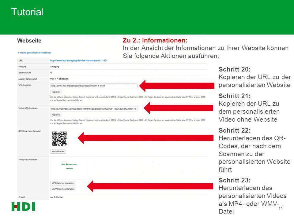 11 Tutorial Zu 2.: Informationen: In der Ansicht der Informationen zu Ihrer Website können Sie folgende Aktionen ausführen: Schritt 20: Kopieren der U