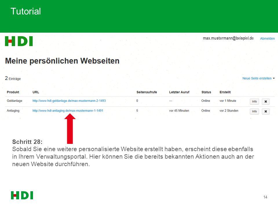 14 Tutorial max.mustermann@beispiel.de Schritt 28: Sobald Sie eine weitere personalisierte Website erstellt haben, erscheint diese ebenfalls in Ihrem