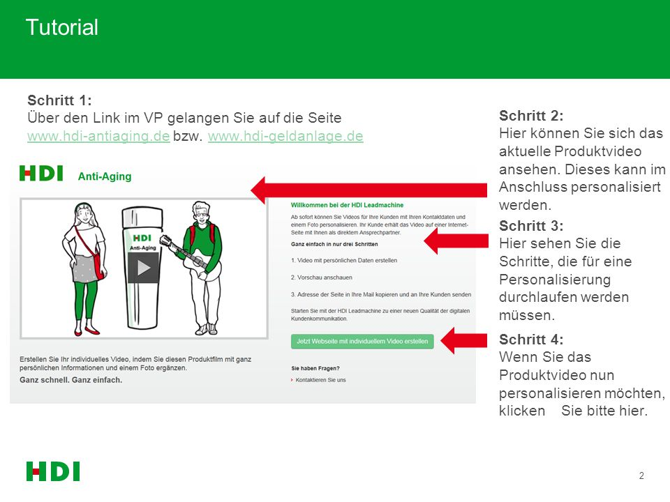 2 Tutorial Schritt 2: Hier können Sie sich das aktuelle Produktvideo ansehen. Dieses kann im Anschluss personalisiert werden. Schritt 4: Wenn Sie das
