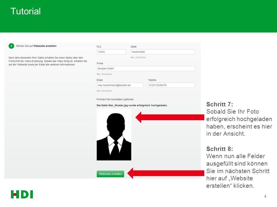 5 Tutorial Schritt 9: Nun kann es einige Sekunden dauern, während das Produktvideo um Ihre persönlichen Daten ergänzt und die Website erstellt wird.