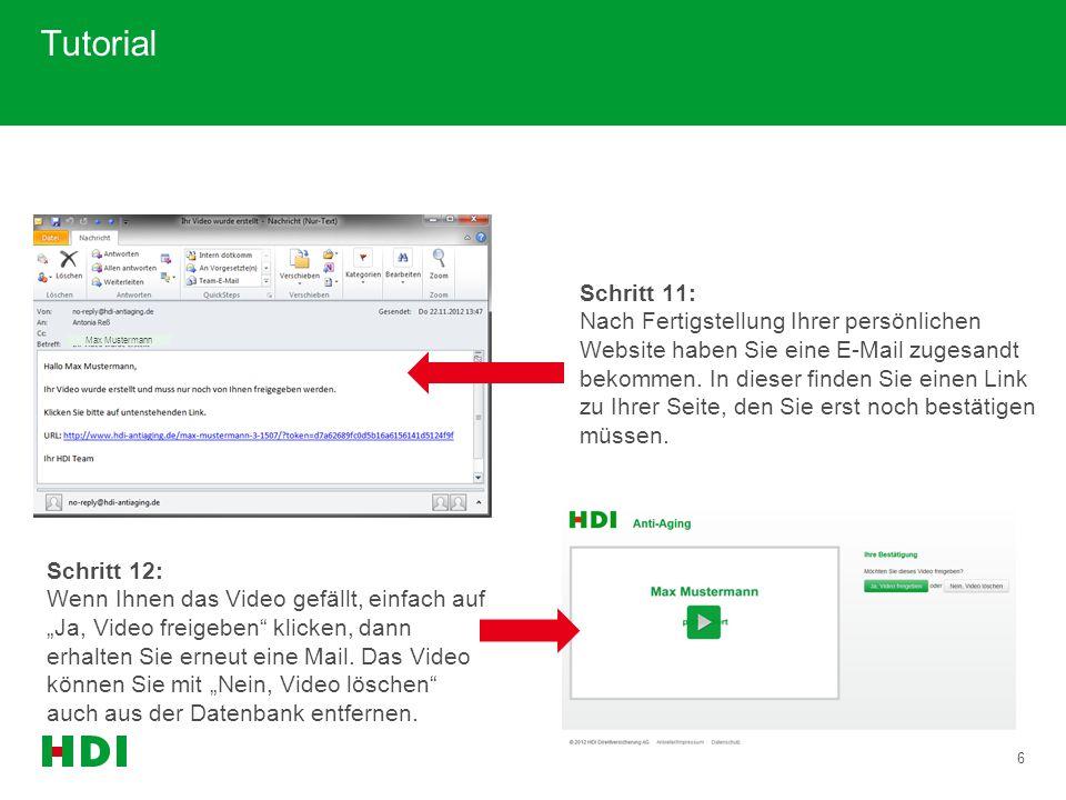 """7 Tutorial Schritt 13: Durch den Klick auf """"Ja, Video freigeben gelangen sie auf Ihre persönliche Website."""