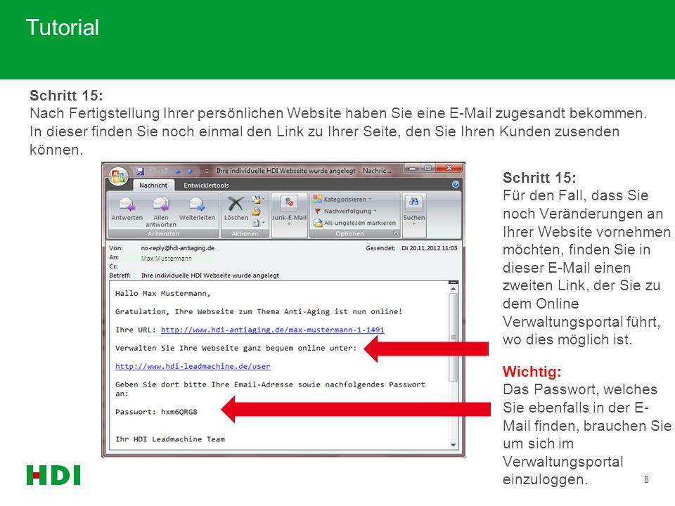 9 Tutorial Schritt 17: Hier benötigen Sie auch das Passwort, dass Sie per E-Mail, nach dem Erstellen Ihrer persönlichen Website, erhalten haben.