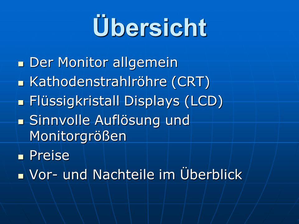 Übersicht Der Monitor allgemein Der Monitor allgemein Kathodenstrahlröhre (CRT) Kathodenstrahlröhre (CRT) Flüssigkristall Displays (LCD) Flüssigkrista