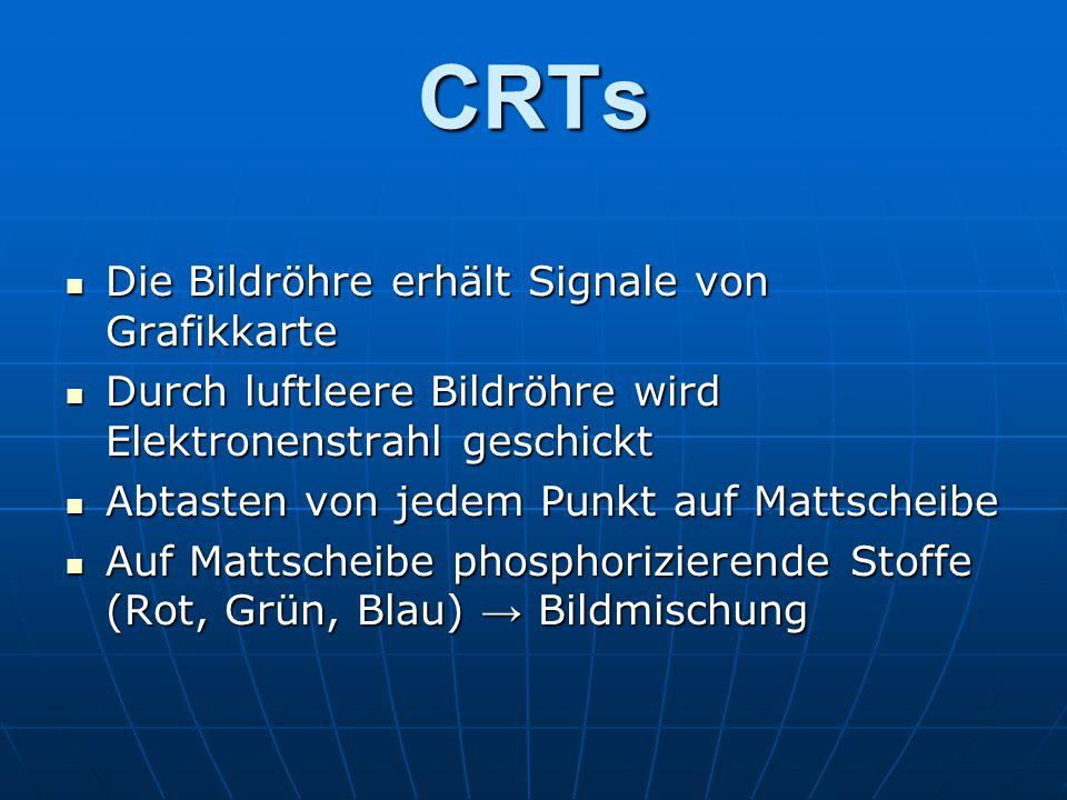 CRTs Die Bildröhre erhält Signale von Grafikkarte Die Bildröhre erhält Signale von Grafikkarte Durch luftleere Bildröhre wird Elektronenstrahl geschickt Durch luftleere Bildröhre wird Elektronenstrahl geschickt Abtasten von jedem Punkt auf Mattscheibe Abtasten von jedem Punkt auf Mattscheibe Auf Mattscheibe phosphorizierende Stoffe (Rot, Grün, Blau) → Bildmischung Auf Mattscheibe phosphorizierende Stoffe (Rot, Grün, Blau) → Bildmischung
