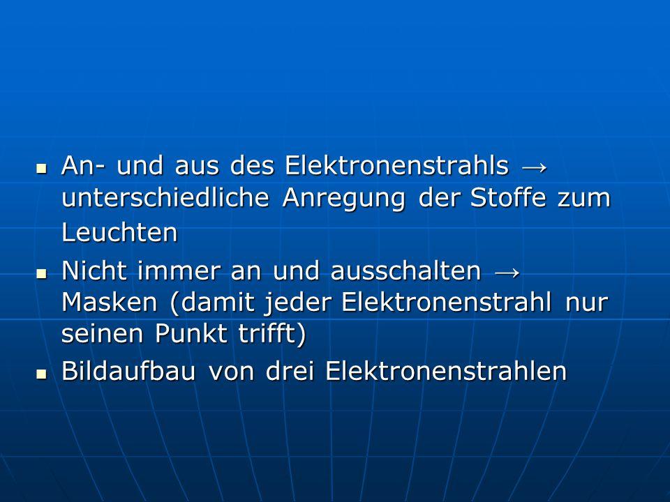 An- und aus des Elektronenstrahls → unterschiedliche Anregung der Stoffe zum Leuchten An- und aus des Elektronenstrahls → unterschiedliche Anregung de