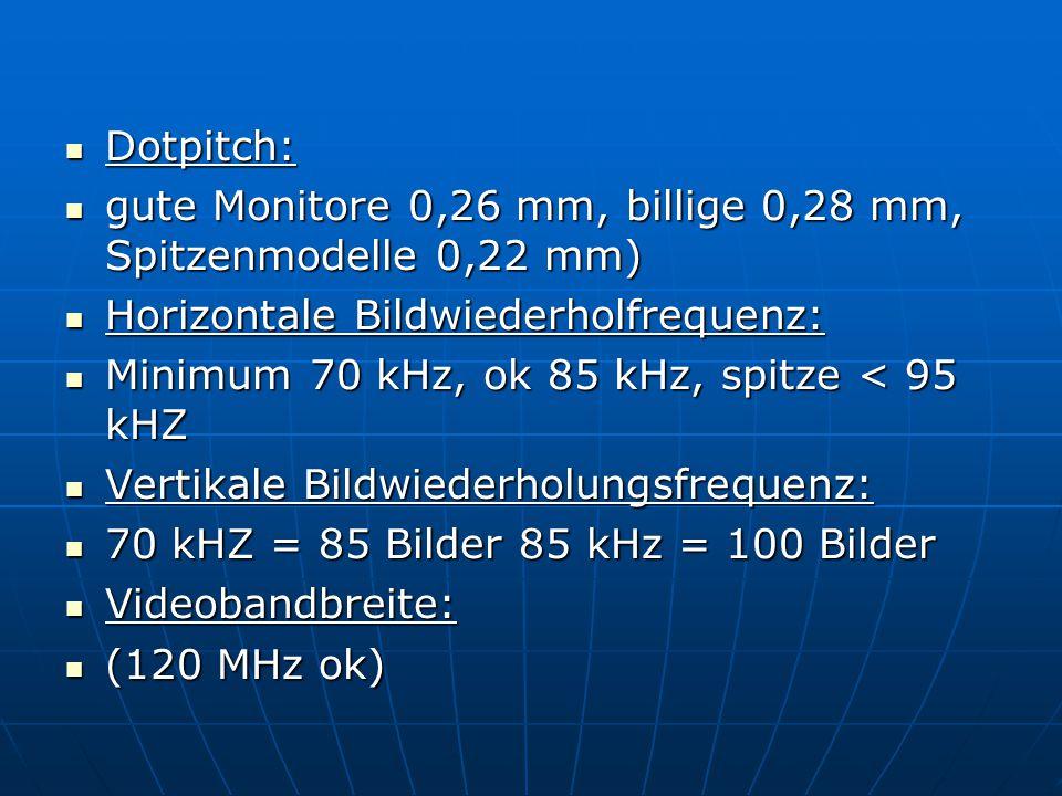 Dotpitch: Dotpitch: gute Monitore 0,26 mm, billige 0,28 mm, Spitzenmodelle 0,22 mm) gute Monitore 0,26 mm, billige 0,28 mm, Spitzenmodelle 0,22 mm) Horizontale Bildwiederholfrequenz: Horizontale Bildwiederholfrequenz: Minimum 70 kHz, ok 85 kHz, spitze < 95 kHZ Minimum 70 kHz, ok 85 kHz, spitze < 95 kHZ Vertikale Bildwiederholungsfrequenz: Vertikale Bildwiederholungsfrequenz: 70 kHZ = 85 Bilder 85 kHz = 100 Bilder 70 kHZ = 85 Bilder 85 kHz = 100 Bilder Videobandbreite: Videobandbreite: (120 MHz ok) (120 MHz ok)