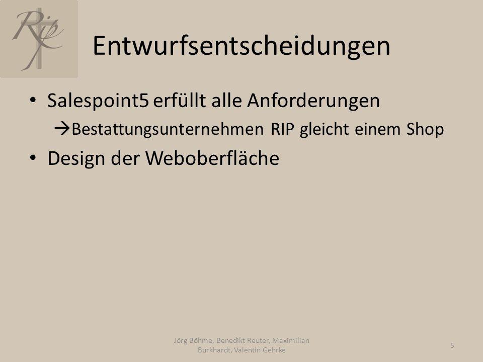 Entwurfsentscheidungen Salespoint5 erfüllt alle Anforderungen  Bestattungsunternehmen RIP gleicht einem Shop Design der Weboberfläche Jörg Böhme, Benedikt Reuter, Maximilian Burkhardt, Valentin Gehrke 5