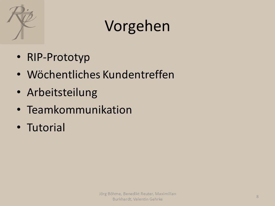 Vorgehen RIP-Prototyp Wöchentliches Kundentreffen Arbeitsteilung Teamkommunikation Tutorial Jörg Böhme, Benedikt Reuter, Maximilian Burkhardt, Valentin Gehrke 8