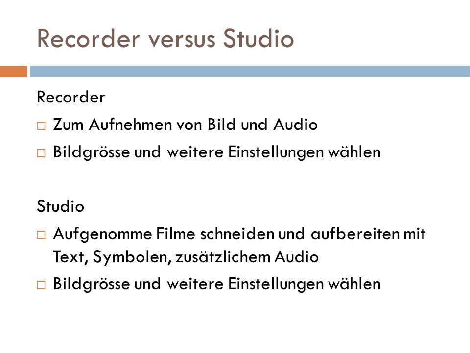Recorder versus Studio Recorder  Zum Aufnehmen von Bild und Audio  Bildgrösse und weitere Einstellungen wählen Studio  Aufgenomme Filme schneiden u