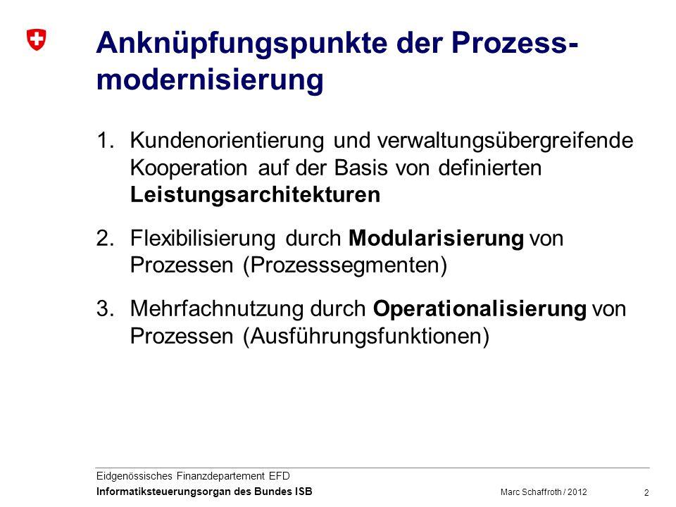 2 Eidgenössisches Finanzdepartement EFD Informatiksteuerungsorgan des Bundes ISB Anknüpfungspunkte der Prozess- modernisierung 1.Kundenorientierung und verwaltungsübergreifende Kooperation auf der Basis von definierten Leistungsarchitekturen 2.Flexibilisierung durch Modularisierung von Prozessen (Prozesssegmenten) 3.Mehrfachnutzung durch Operationalisierung von Prozessen (Ausführungsfunktionen) Marc Schaffroth / 2012
