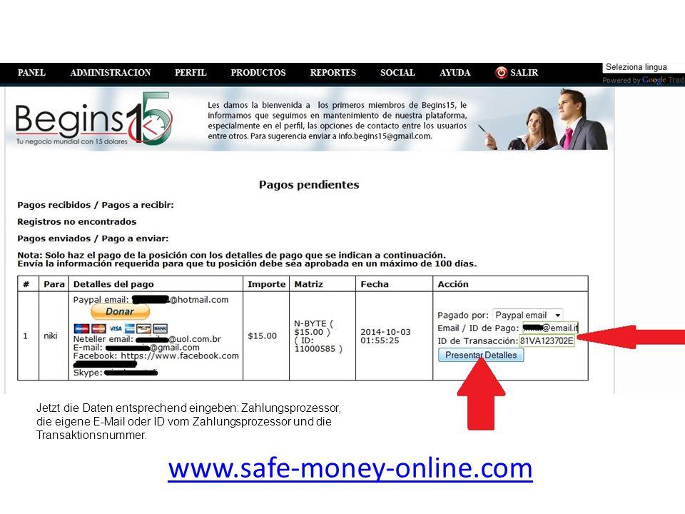 www.safe-money-online.com Jetzt die Daten entsprechend eingeben: Zahlungsprozessor, die eigene E-Mail oder ID vom Zahlungsprozessor und die Transaktio