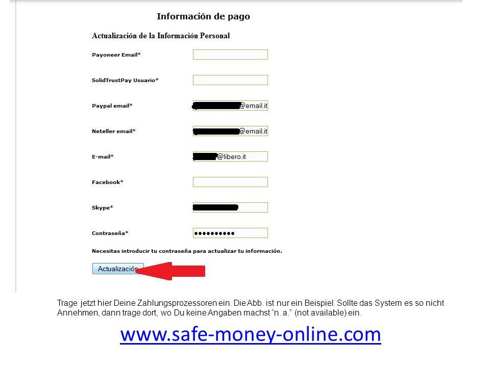 www.safe-money-online.com Trage jetzt hier Deine Zahlungsprozessoren ein. Die Abb. ist nur ein Beispiel. Sollte das System es so nicht Annehmen, dann