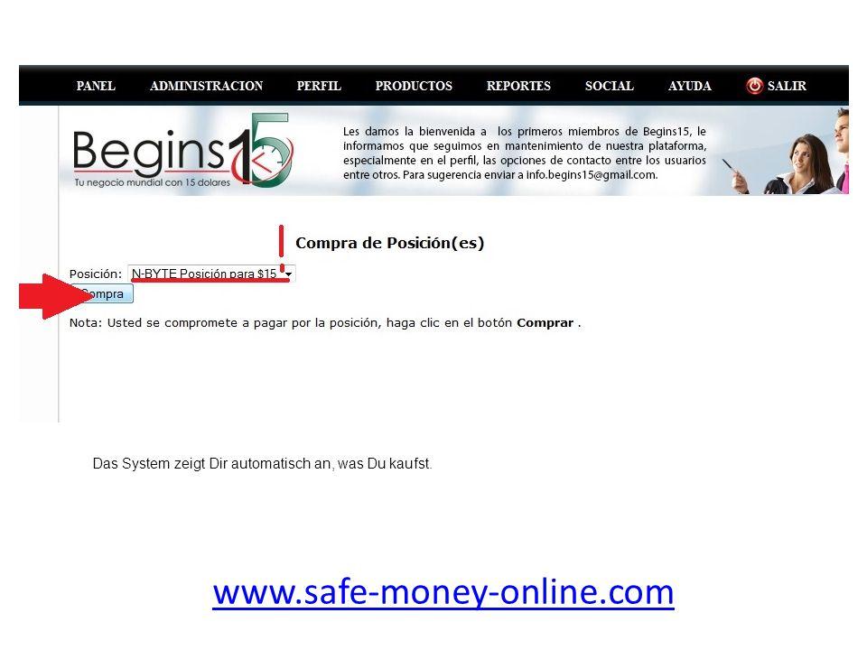 www.safe-money-online.com Nachdem Du auf 'Compra' geklickt hast, oeffnet sich dieses Fenster.