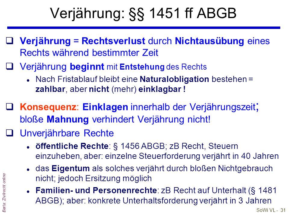 SoWi VL - 31 Barta: Zivilrecht online Verjährung: §§ 1451 ff ABGB qVerjährung = Rechtsverlust durch Nichtausübung eines Rechts während bestimmter Zeit qVerjährung beginnt mit Entstehung des Rechts l Nach Fristablauf bleibt eine Naturalobligation bestehen = zahlbar, aber nicht (mehr) einklagbar .