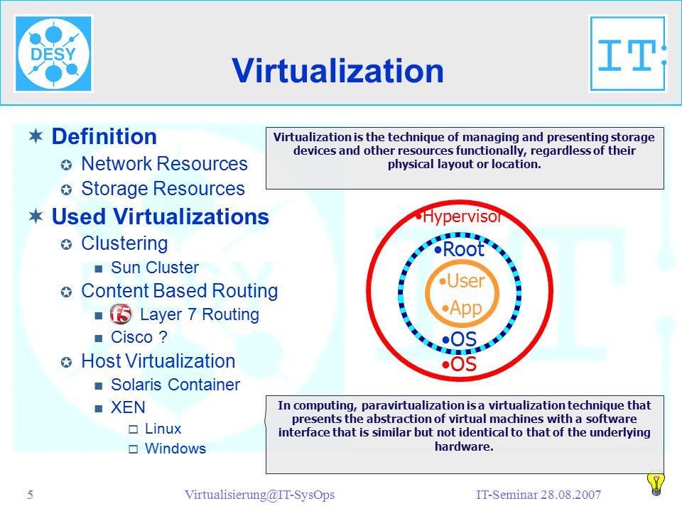 IT-Seminar 28.08.2007Virtualisierung@IT-SysOps16 Notizen