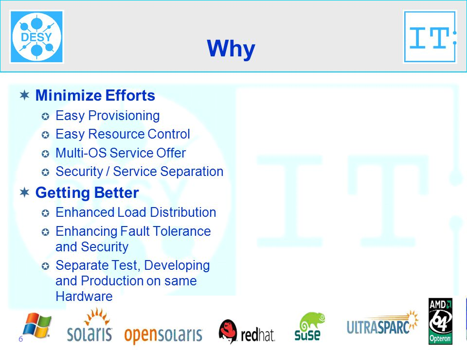 IT-Seminar 28.08.2007Virtualisierung@IT-SysOps6 Why  Minimize Efforts  Easy Provisioning  Easy Resource Control  Multi-OS Service Offer  Security