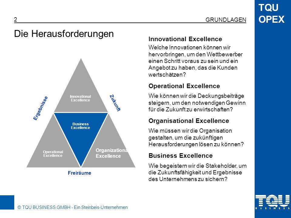 © TQU BUSINESS GMBH - Ein Steinbeis-Unternehmen TQU OPEX 3 Operational Excellence bezieht sich auf die Prozesse der Wertschöpfungskette und deren Leistungsfähigkeit.