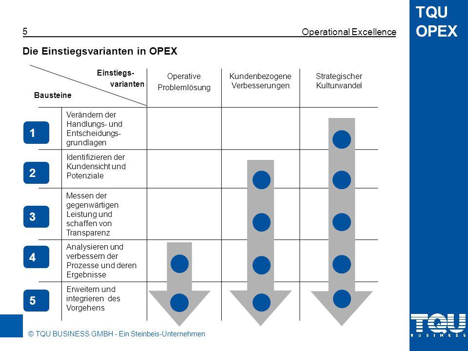 © TQU BUSINESS GMBH - Ein Steinbeis-Unternehmen TQU OPEX Welcher der richtige Einstieg ist, hängt von der Situation des jeweiligen Unternehmens ab.