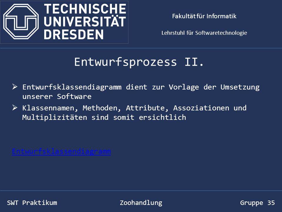 SWT Praktikum Zoohandlung Gruppe 35 Vorführung: Fakultät für Informatik Lehrstuhl für Softwaretechnologie