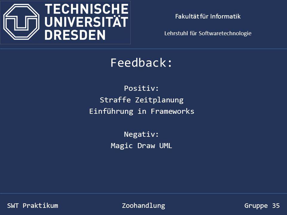 SWT Praktikum Zoohandlung Gruppe 35 Feedback: Positiv: Straffe Zeitplanung Einführung in Frameworks Negativ: Magic Draw UML Fakultät für Informatik Lehrstuhl für Softwaretechnologie