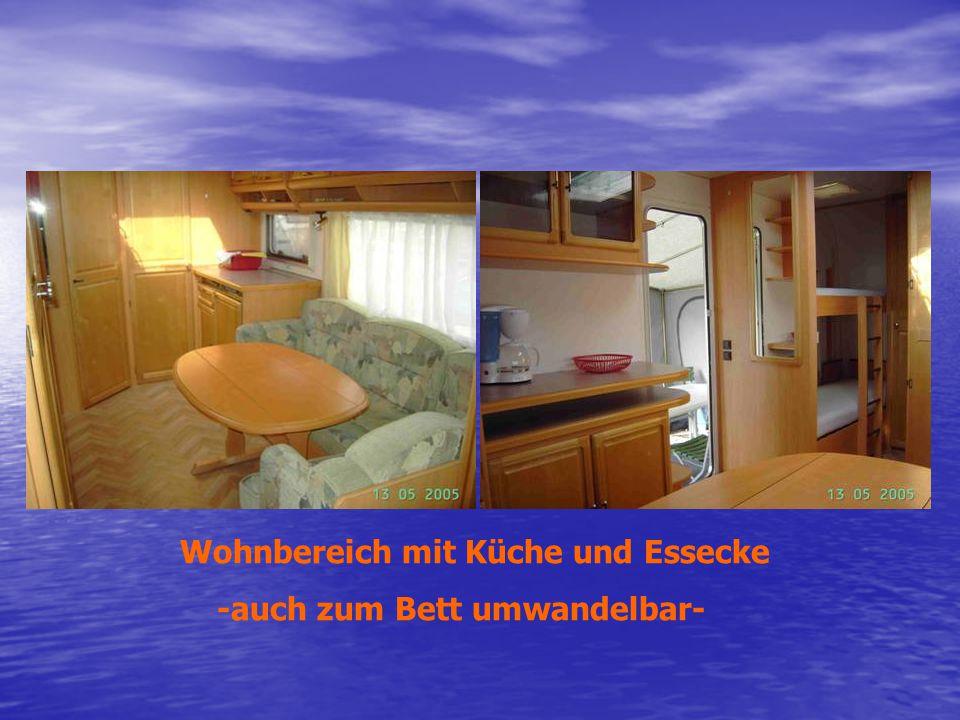 Wohnbereich mit Küche und Essecke -auch zum Bett umwandelbar-