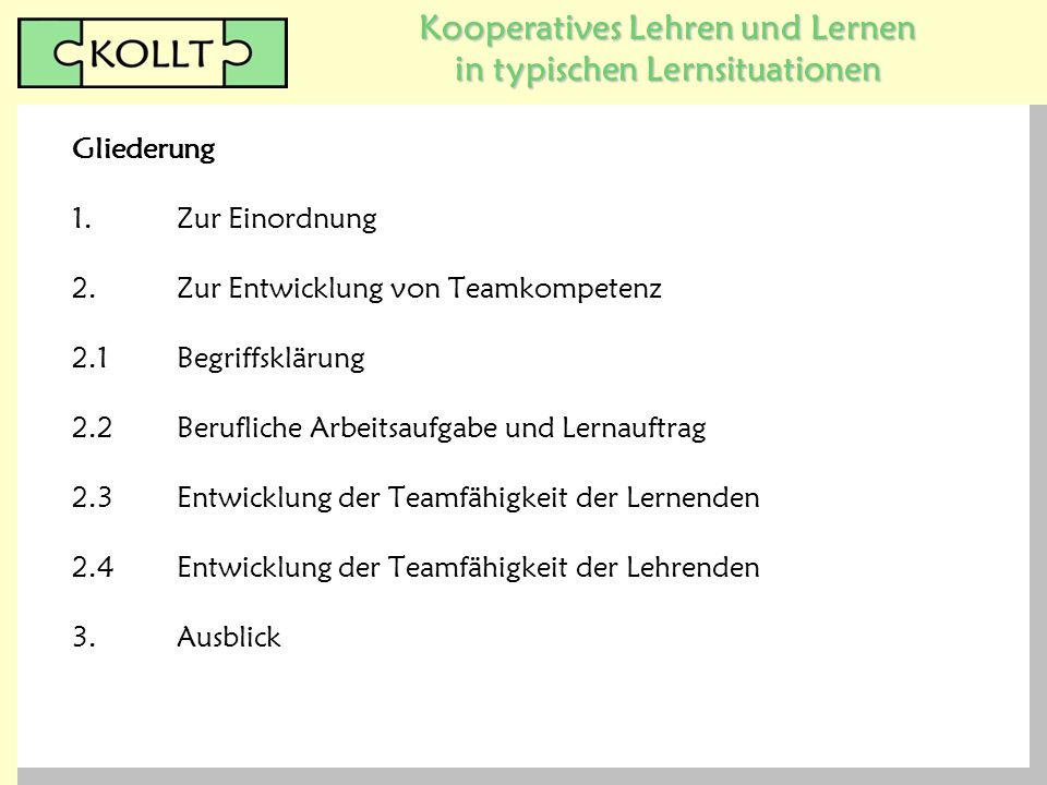Kooperatives Lehren und Lernen in typischen Lernsituationen 1.Zur Einordnung 2.Zur Entwicklung von Teamkompetenz 2.1Begriffsklärung 2.2Berufliche Arbe