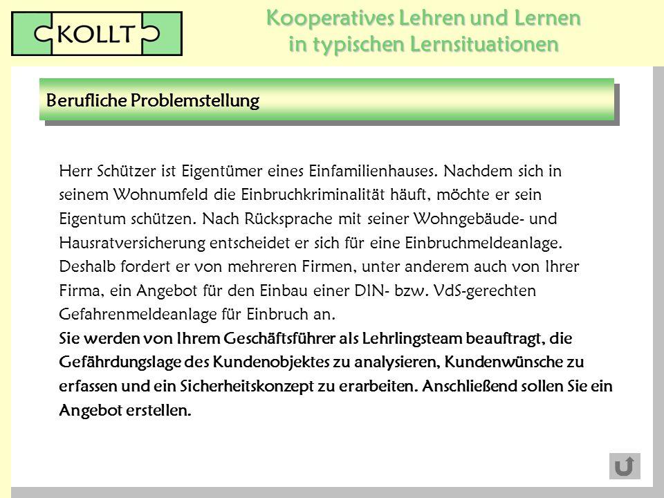 Kooperatives Lehren und Lernen in typischen Lernsituationen Herr Schützer ist Eigentümer eines Einfamilienhauses. Nachdem sich in seinem Wohnumfeld di