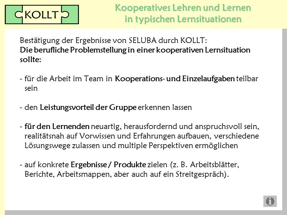 Kooperatives Lehren und Lernen in typischen Lernsituationen Bestätigung der Ergebnisse von SELUBA durch KOLLT: Die berufliche Problemstellung in einer