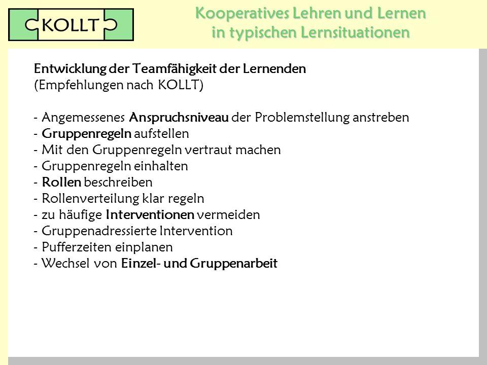 Kooperatives Lehren und Lernen in typischen Lernsituationen Entwicklung der Teamfähigkeit der Lernenden (Empfehlungen nach KOLLT) - Angemessenes Anspr