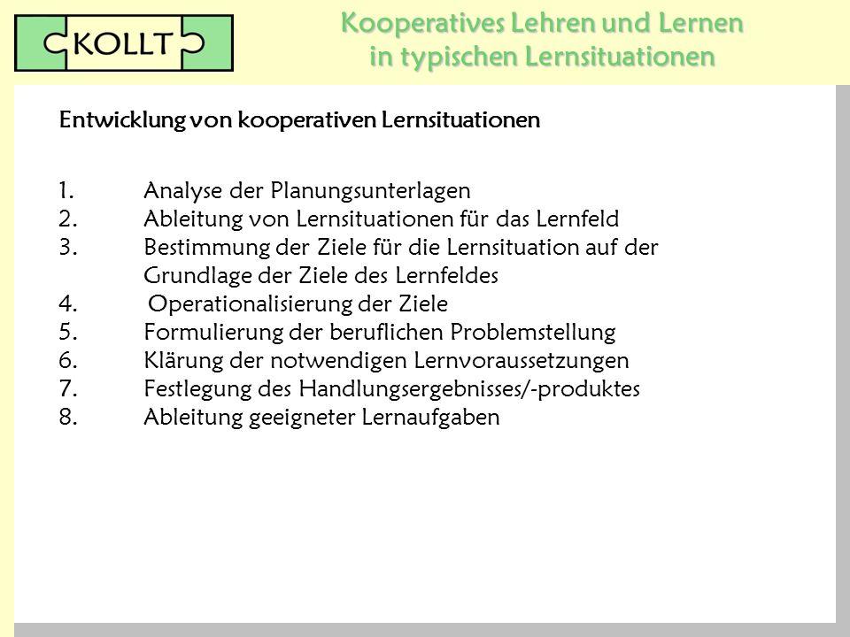 Kooperatives Lehren und Lernen in typischen Lernsituationen 1.Analyse der Planungsunterlagen 2.Ableitung von Lernsituationen für das Lernfeld 3.Bestim