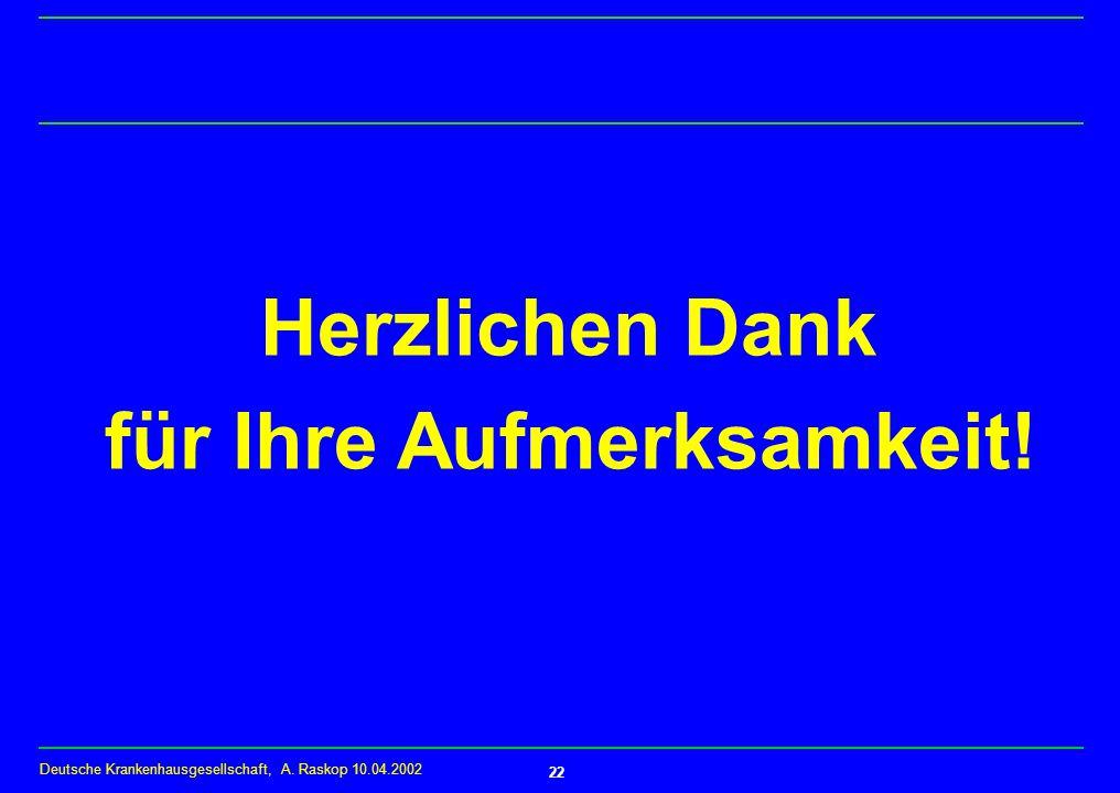 Deutsche Krankenhausgesellschaft, A. Raskop 10.04.2002 22 Herzlichen Dank für Ihre Aufmerksamkeit!
