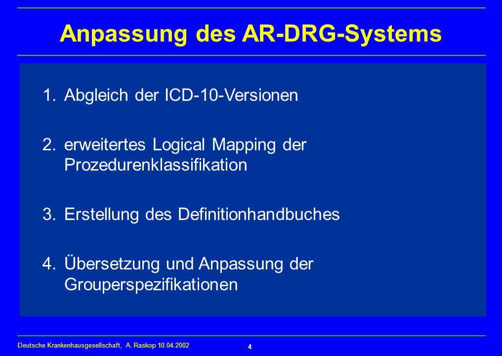 Deutsche Krankenhausgesellschaft, A.Raskop 10.04.2002 4 Anpassung des AR-DRG-Systems 1.
