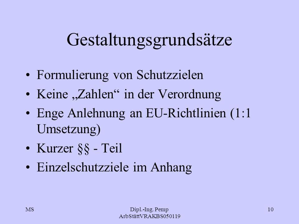 """MSDipl.-Ing. Pemp ArbStättVRAKBS050119 10 Gestaltungsgrundsätze Formulierung von Schutzzielen Keine """"Zahlen"""" in der Verordnung Enge Anlehnung an EU-Ri"""