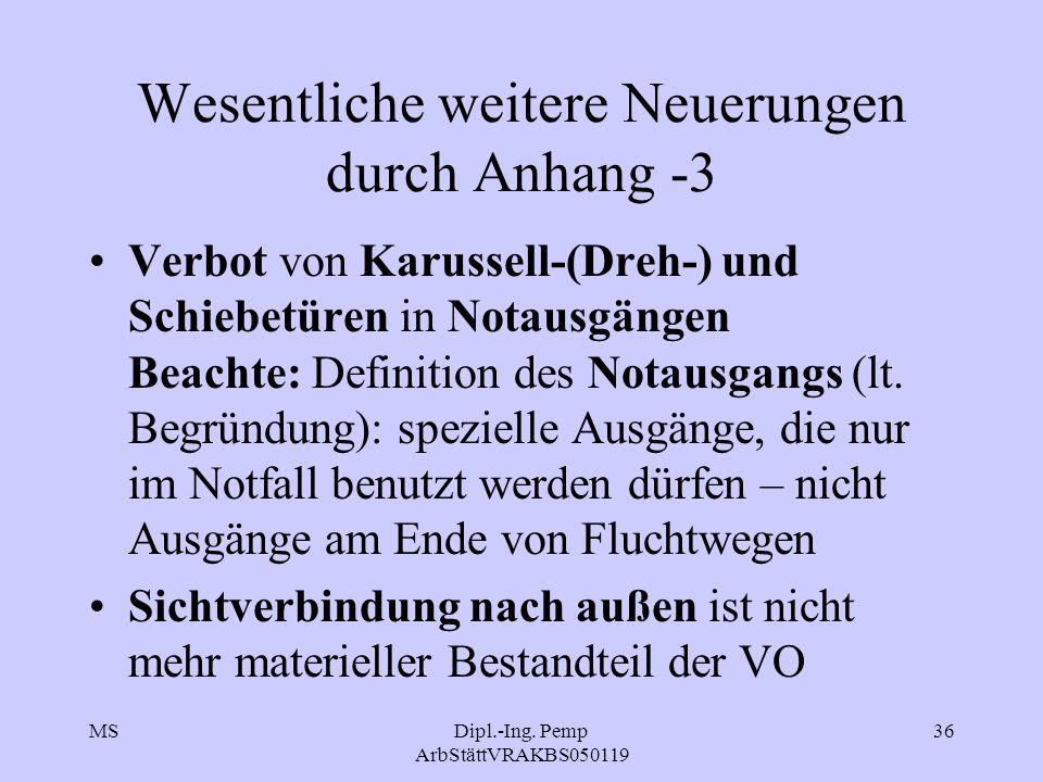 MSDipl.-Ing. Pemp ArbStättVRAKBS050119 36 Wesentliche weitere Neuerungen durch Anhang -3 Verbot von Karussell-(Dreh-) und Schiebetüren in Notausgängen