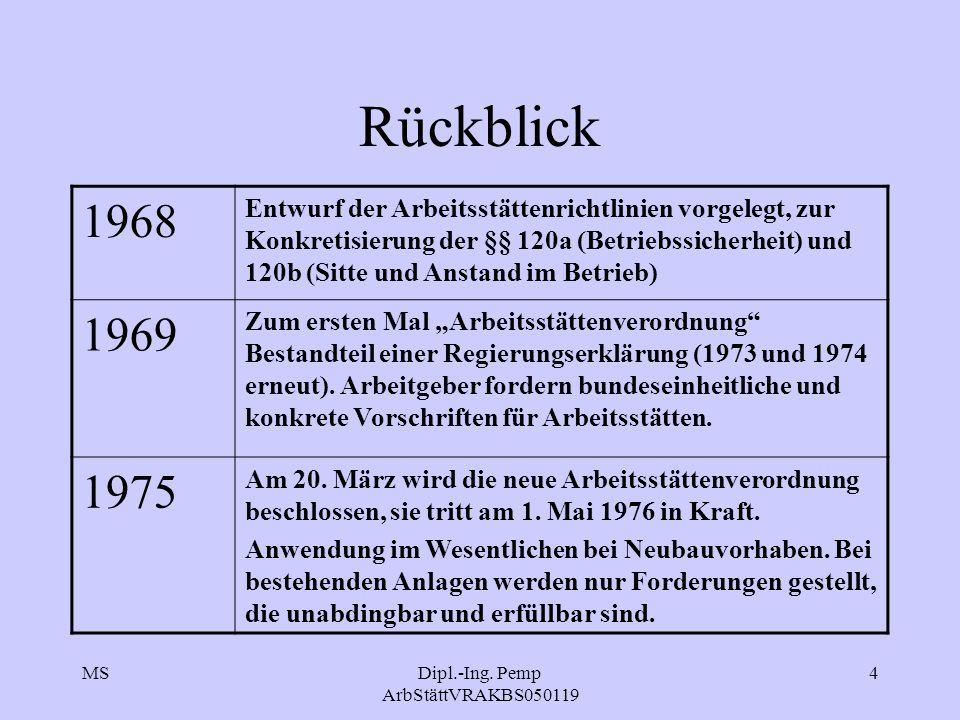 MSDipl.-Ing. Pemp ArbStättVRAKBS050119 4 Rückblick 1968 Entwurf der Arbeitsstättenrichtlinien vorgelegt, zur Konkretisierung der §§ 120a (Betriebssich