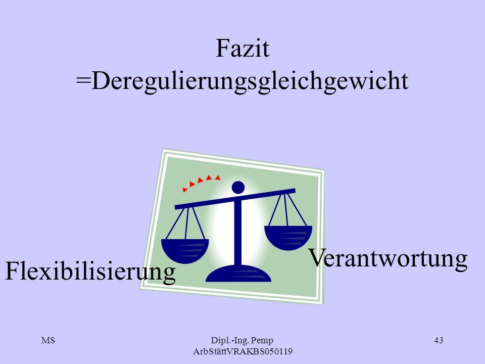 MSDipl.-Ing. Pemp ArbStättVRAKBS050119 43 Fazit =Deregulierungsgleichgewicht Flexibilisierung Verantwortung