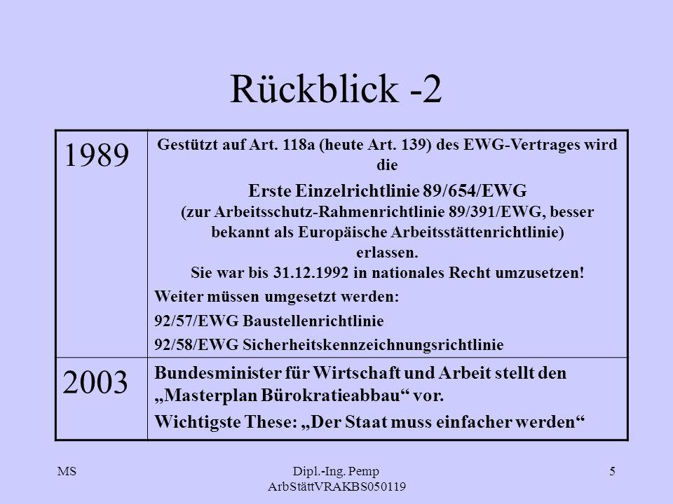 MSDipl.-Ing. Pemp ArbStättVRAKBS050119 5 Rückblick -2 1989 Gestützt auf Art. 118a (heute Art. 139) des EWG-Vertrages wird die Erste Einzelrichtlinie 8
