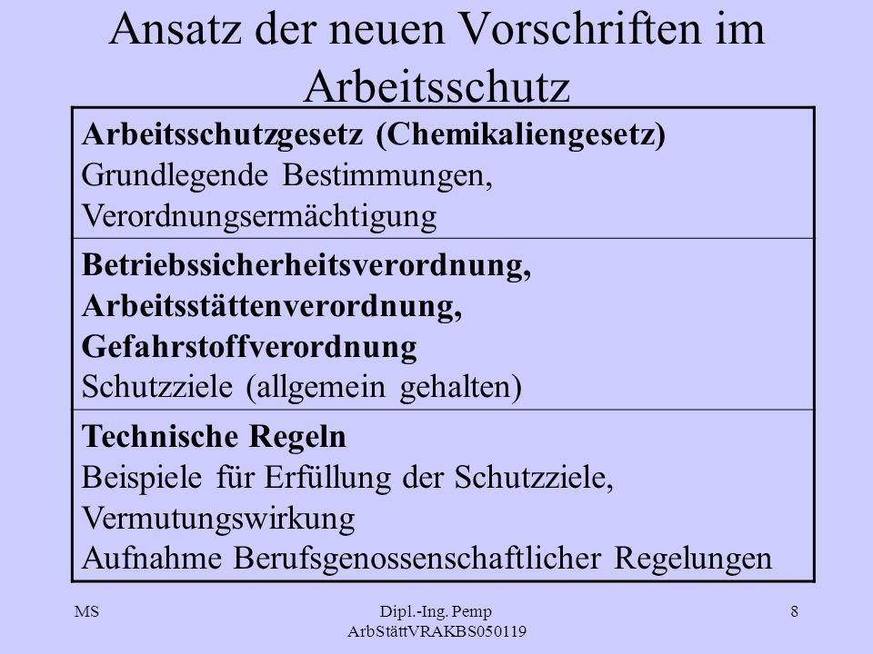 MSDipl.-Ing. Pemp ArbStättVRAKBS050119 8 Ansatz der neuen Vorschriften im Arbeitsschutz Arbeitsschutzgesetz (Chemikaliengesetz) Grundlegende Bestimmun