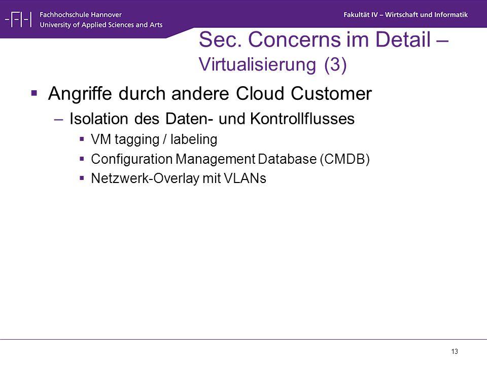 13 Sec. Concerns im Detail – Virtualisierung (3)  Angriffe durch andere Cloud Customer –Isolation des Daten- und Kontrollflusses  VM tagging / label