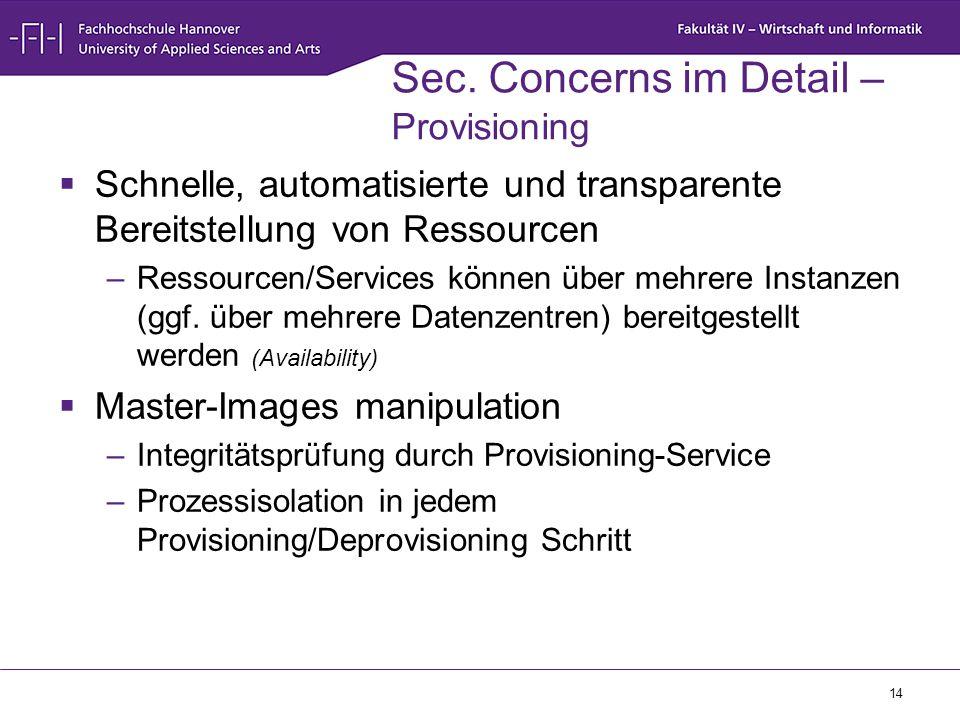 14 Sec. Concerns im Detail – Provisioning  Schnelle, automatisierte und transparente Bereitstellung von Ressourcen –Ressourcen/Services können über m