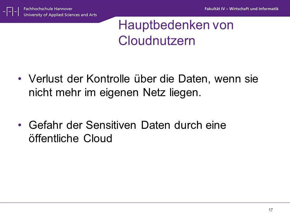 17 Hauptbedenken von Cloudnutzern Verlust der Kontrolle über die Daten, wenn sie nicht mehr im eigenen Netz liegen. Gefahr der Sensitiven Daten durch