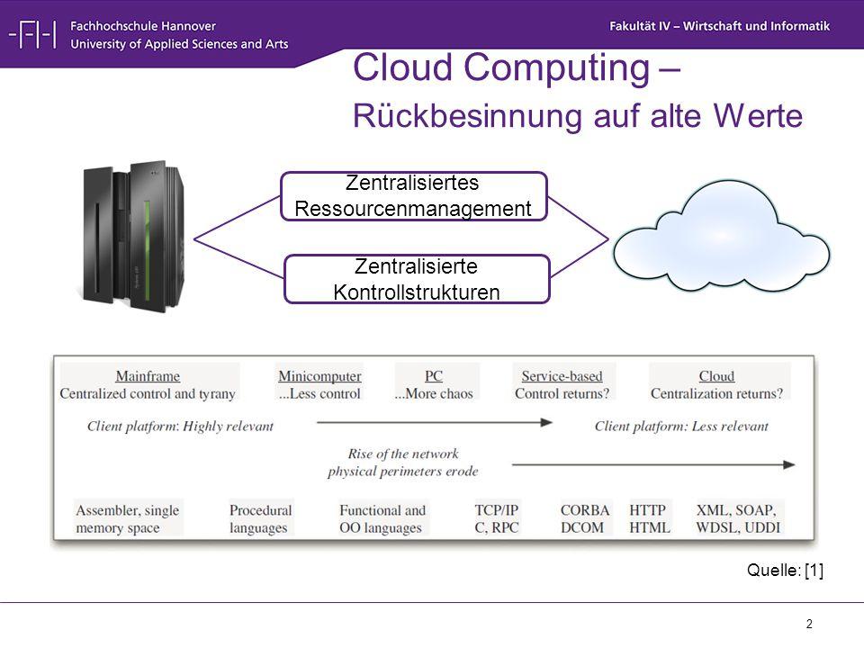 3 Cloud Computing – Grundlagen  Infrastruktur –Server –Speicher –Netzwerkkomponenten (Switch, Router, …)  IP-basierte Netzwerke –VLANs –Physikalisch getrennte Netze  Virtualisierung –Rechenkapazität (VMs) –Speicher –Netzwerk