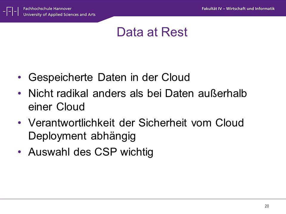 20 Data at Rest Gespeicherte Daten in der Cloud Nicht radikal anders als bei Daten außerhalb einer Cloud Verantwortlichkeit der Sicherheit vom Cloud D