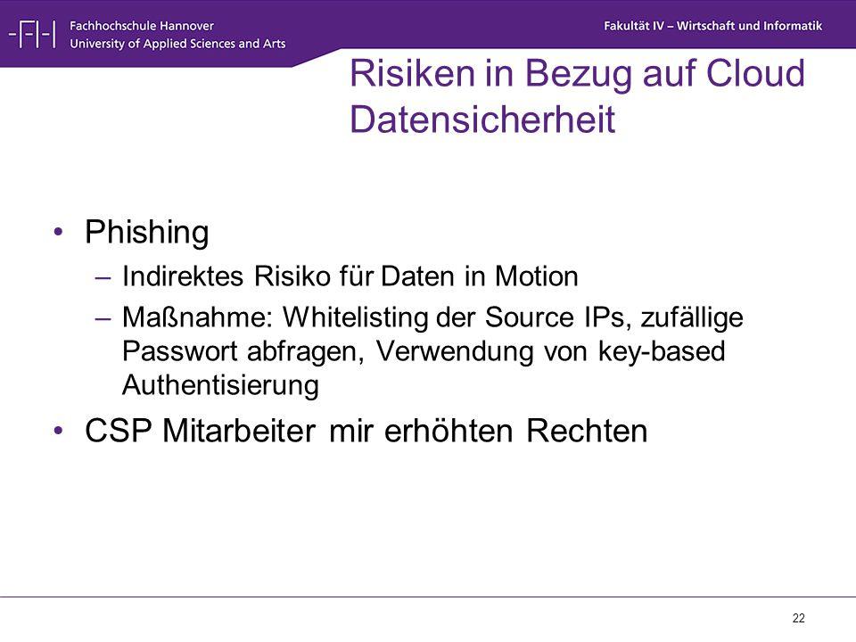 22 Risiken in Bezug auf Cloud Datensicherheit Phishing –Indirektes Risiko für Daten in Motion –Maßnahme: Whitelisting der Source IPs, zufällige Passwo