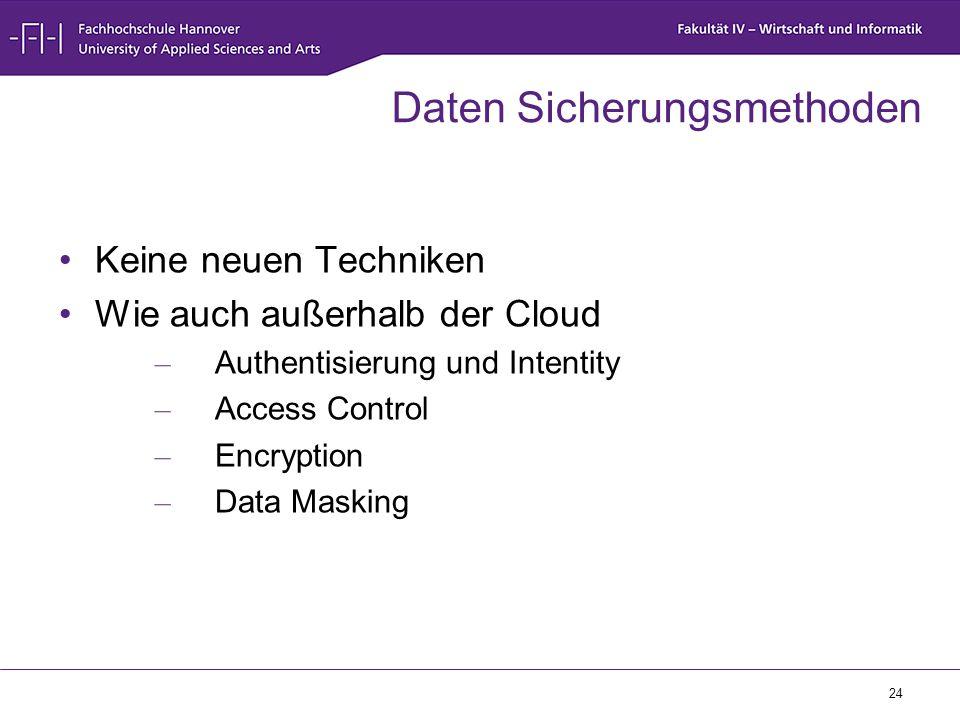 24 Daten Sicherungsmethoden Keine neuen Techniken Wie auch außerhalb der Cloud – Authentisierung und Intentity – Access Control – Encryption – Data Ma